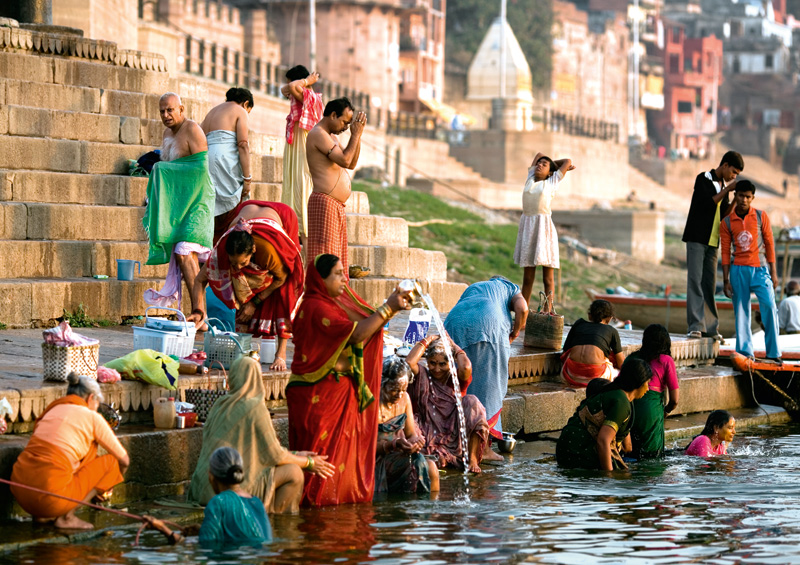Postcard Sacred ritual on Ganges riverside - Varansi, India